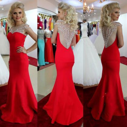 Backless Prom Dresses,Red Prom Dres..