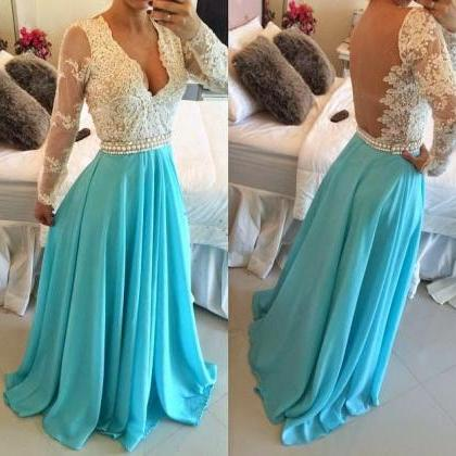 Sexy Long Bule Prom Dress ,Wedding ..