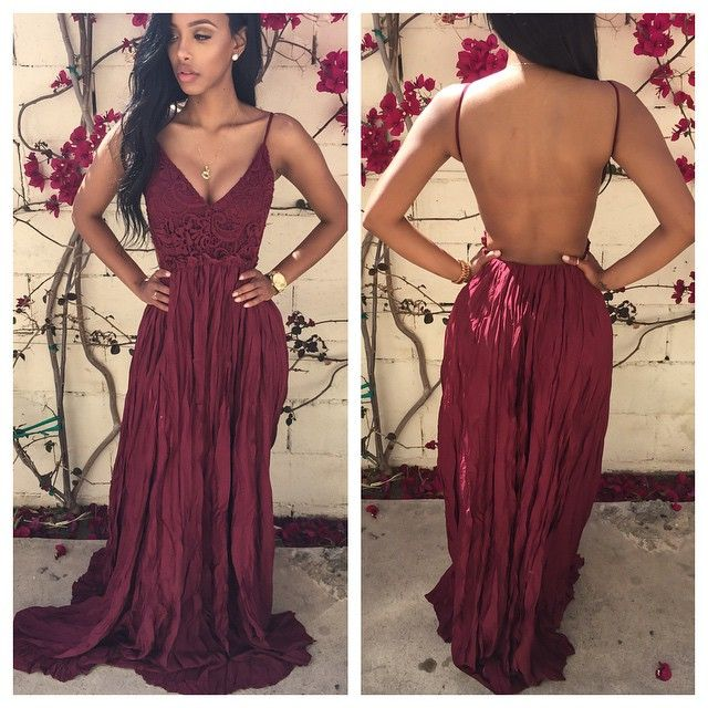 Red chiffon long backless dresses