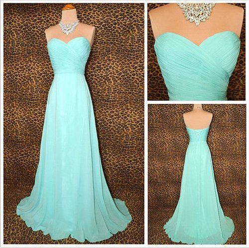 Pretty Blue Sweetheart Sweep Train Floor Length Prom Dress 2015 ...