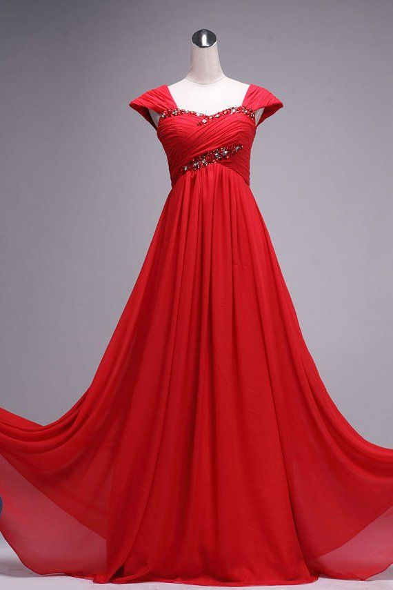 Red Floor Length Gorgeous Sweetheart Prom Dress With Beadings, Red ...