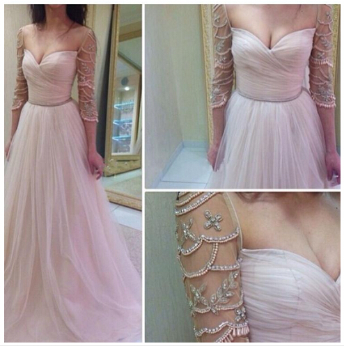 Tulle Prom Dresses,Long Evening Dress,Half Sleeves Prom Dress,White Prom Dress,Charming Prom Gown,Sexy Prom Dress,White Wedding Gown,Modest Evening Gowns For Teens