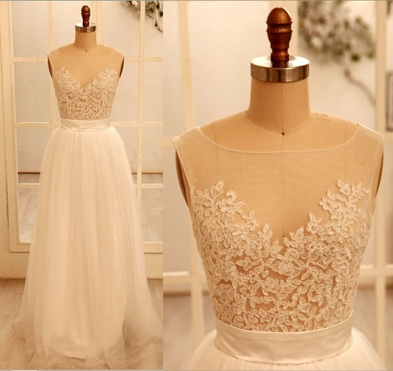 White Wedding Dresses 2016 Wedding Gown Tulle Wedding Gowns A Line Bridal Dress Fitted Wedding Dress Lace Brides Dress Vintage Wedding Gowns Vintage