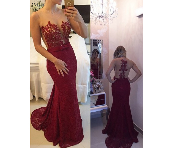 Burgundy Prom Dresses Backless Dress Lace Wine Red 2016 Formal Gown Open Back Evening Gowns Backs Party Modest