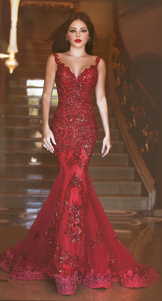 36b56545647d Sexy Red Mermaid Lace Appliques Evening Gowns on Luulla