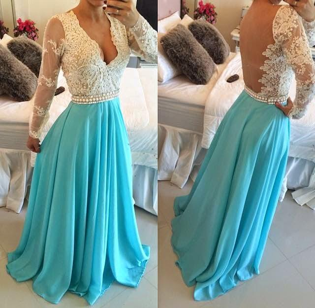 Sexy Long Bule Prom Dress ,Wedding Party Dress ,Bridesmaid Dress ,Long Slevees Evening Dress,Special Occasion Dress