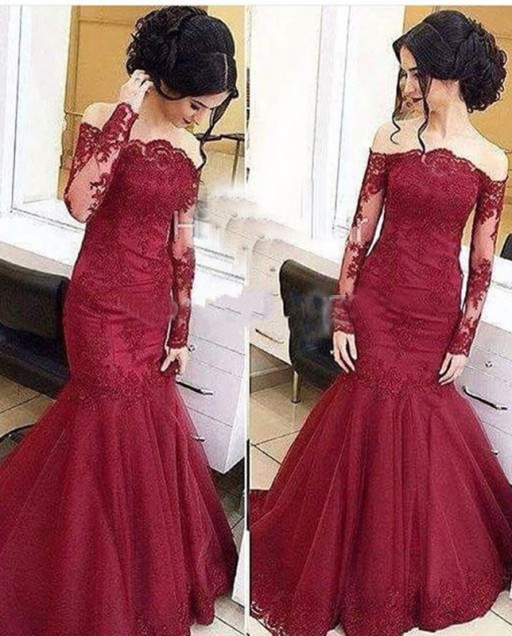 97ee5f5ca0e3 Custom Made Burgundy Off Shoulder Lace Long Sleeve Mermaid Prom Dresses