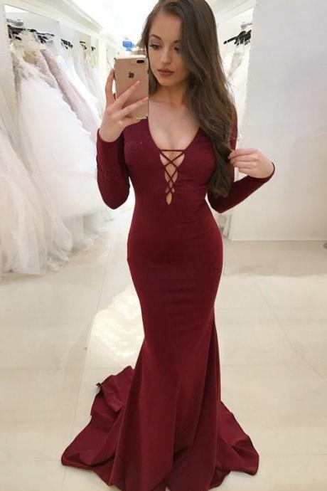 Burgundy Mermaid Deep V-Neck Long Sleeves Prom Dress,Backless Sweep Train Prom Dress