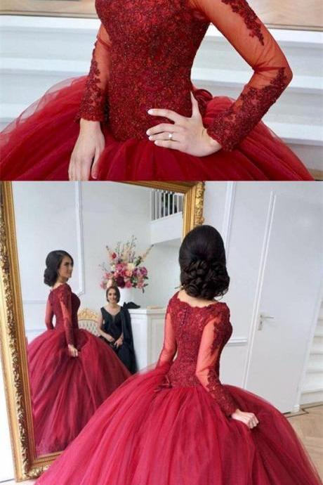 Lace Appliques Prom Dresses, Long Sleeves Evening Dress,Tulle Ball Gowns, Maroon Wedding Dresses