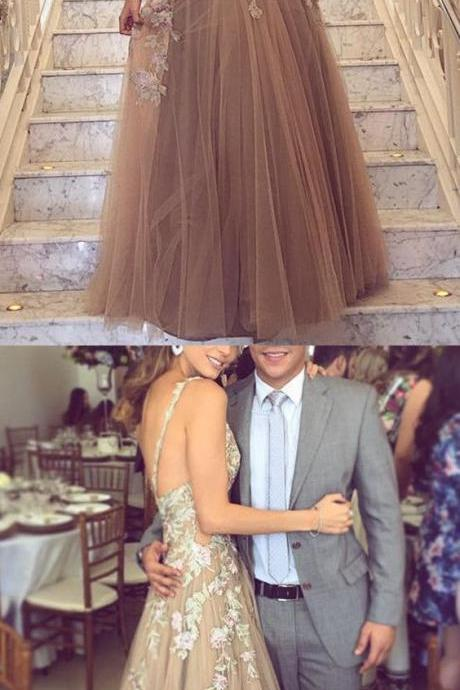 Lace Embroidery V-neck Tulle Prom Dresses,Floor Length Evening Gowns