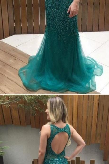Green Mermaid Beaded Sleeveless Ball Gown, Evening Gown, Green Formal Dress