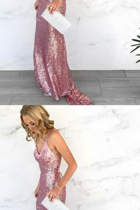 Sexy Mermaid V-Neck Sequined Long Prom Dress with Open Back,Rose Pink Sweep Train Evening Gowns