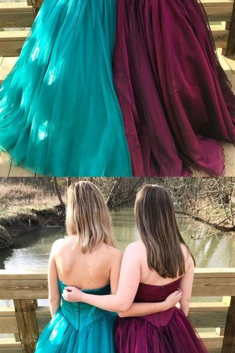 Sweetheart Princess Green/Burgundy Long Tulle Prom Dress,Strapless Women Ball Gowns