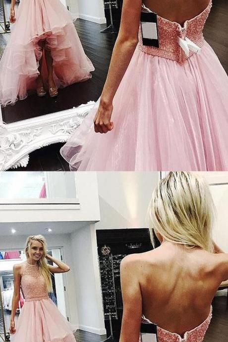 Pink Halter Beaded Top Prom Dress,High Low Organza Prom Dresses,Backless Pink Evening Dress