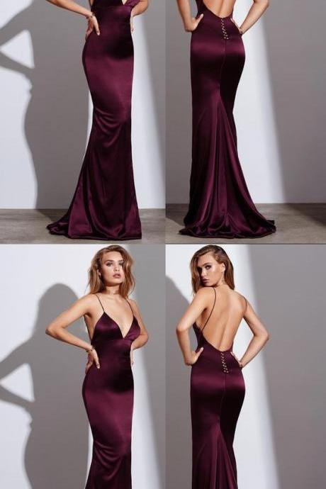 Sexy Burgundy Prom Dress, Mermaid Prom Dresses, Spaghetti Straps Long Prom Gown, Satin Long Evening Dress, Backless Formal Dress