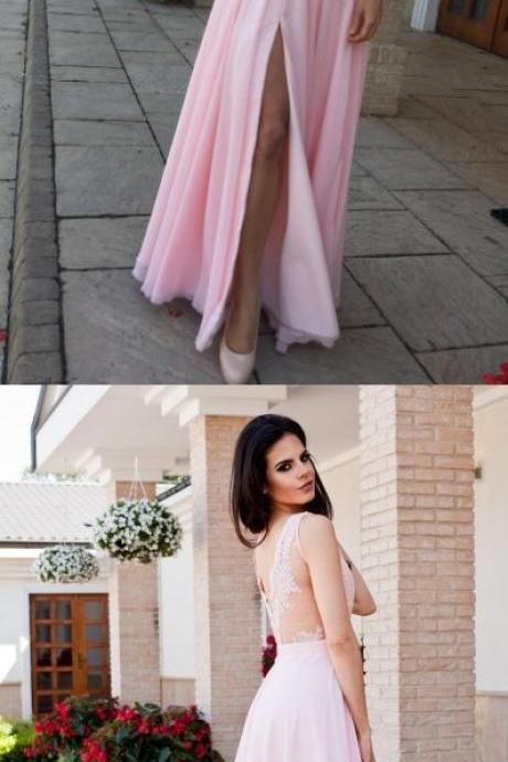 Pink Chiffon Long Prom Dress with Side Slit