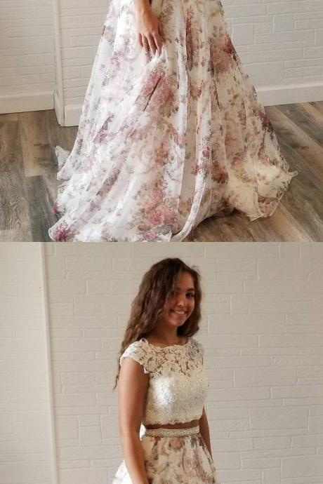 Unique Two Piece White Lace and Floral Print Long Party Dress