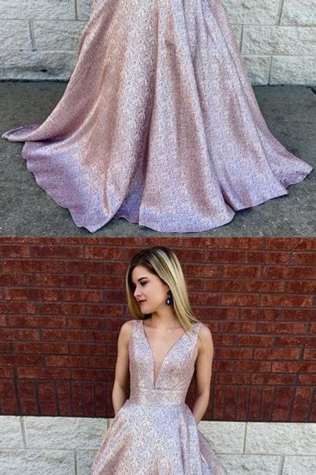 Deep V-Neck A-Line, Long Lilac Printed Satin Prom Dress with Pockets, modest plunging long prom dresses, unique evening gowns with pleats