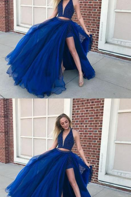 Sexy Royal Blue Halter Beaded Bodice Two Piece Prom Dress,Long Tulle Party Dress