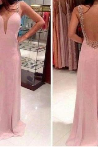 Sexy Open Back Chiffon Prom Dress With Lace, Floor Length Prom Dresses With Lace, Prom Dresses