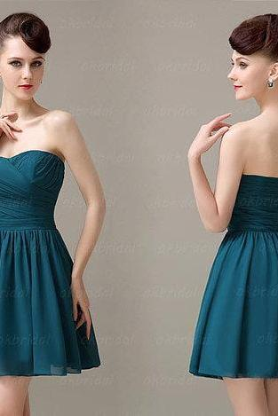 Teal Bridesmaid Dresses, Simple Bridesmaid Dress, Short Bridesmaid Dress, Chiffon Dress Bridesmaid, Cheap Prom Dress