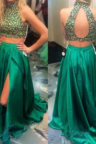 Hunter Green Prom Dresses,2 Piece Prom Gowns,Two Piece Prom Dresses,Open Backs Prom Dresses,Backless Prom Gown,2015 Style Prom Dress With Slit Skirts