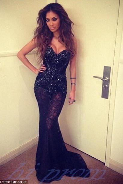 Black Prom Dresses,Mermaid Prom Gowns,Black Prom Dress,Formal Dresses,Lace Prom Gown,Sparkly Evening Dress For Teens
