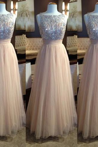 Champagne Prom Dress,Ball Gown Prom Dress,Princess Prom Gown,Beaded Prom Dresses,Sexy Evening Gowns,New Fashion Evening Gown,Tulle Graduation Dress For Teens
