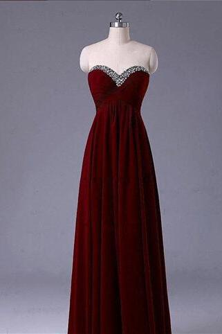 Burgundy Prom Dresses,Wine Red Prom Dress,2016 Prom Dress,Wine Red Prom Dresses,Formal Gown,Simple Evening Gowns,Modest Party Dress,Chiffon Prom Gown For Teens