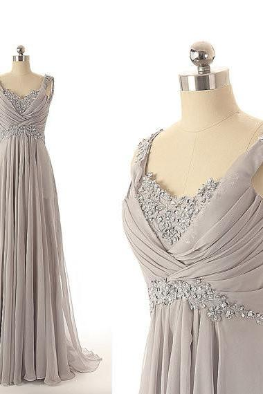 Sexy Prom Dresses,2016 Evening Dresses,New Fashion Prom Gowns,Elegant Prom Dress,Princess Prom Dresses,Chiffon Evening Gowns,Gray Formal Dress,Modest Grey Evening Gown