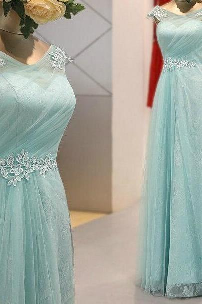 Light Mint Green Prom Dresses,2016 Evening Dresses,New Fashion Prom Gowns,Elegant Prom Dress,Lace Prom Dresses,Tulle Evening Gowns,Modest Formal Dress