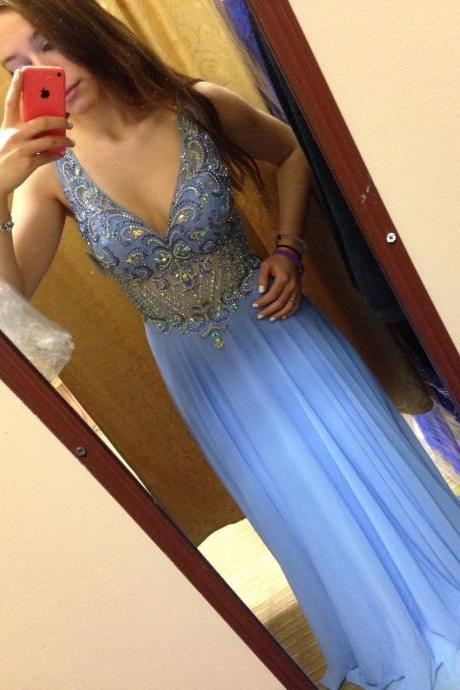 2016 Prom Dresses,Blue Evening Gowns,Sexy Formal Dresses,V Neckline Prom Dresses,2016 Fashion Evening Gown,Chiffon Evening Dress,Sexy Party Dress,2016 Evening Gowns