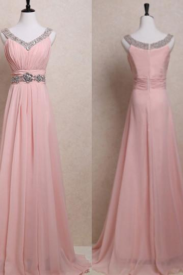 Blush Pink Prom Dresses,Straps Prom Gowns,Pink Prom Dresses,2016 Party Dresses 2016,Long Prom Gown,Open Backs Prom Dress,Sparkle Evening Gowns
