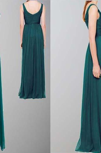 Teal Bridesmaid Dress,Chiffon Bridesmaid Dress,Cheap Bridesmaid Dress, Long Bridesmaid Dress, V-Neck Bridesmaid Dress, 2016 Simple Bridesmaid Dresses