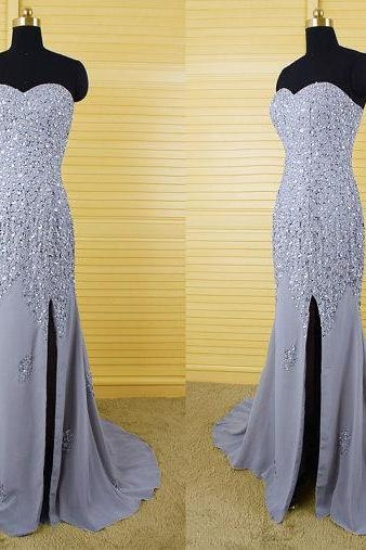 Mermaid Prom Dresses,Gray Prom Dress,Slit Prom Dress,Modest Evening Gowns,Elegant Party Dresses,Long Evening Gowns,Chiffon Evening Gowns,Gray Party Dresses