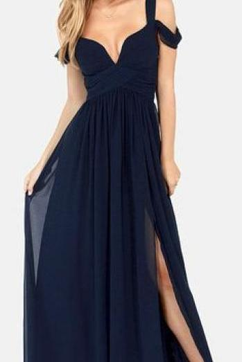 Navy Blue Bridesmaid Dress Long Chiffon Straps Sleeves Bridesmaid Gown,Prom Dress