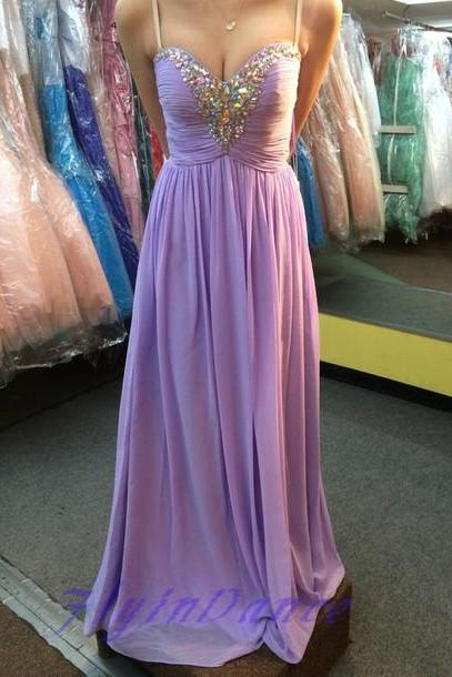Chiffon Prom Dresses,Lilac Evening Dress,Sweetheart Prom Dress,Beading Prom Dress,Sequins Prom Gown,Sexy Prom Dress,Long Prom Gown,Modest Evening Gowns For Teens