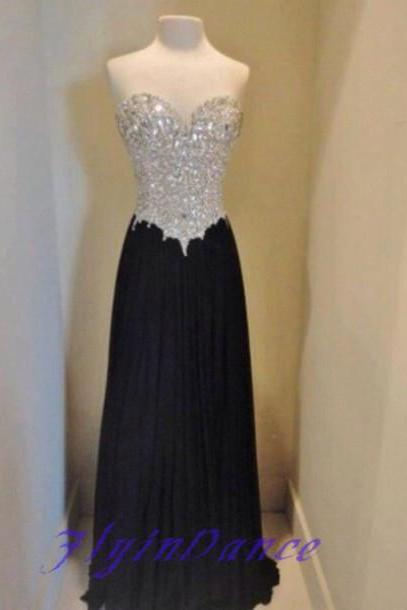 Simple Prom Dresses,Strapless Prom Dress,Beaded Prom Gown,Black Prom Gowns,Elegant Evening Dress,Sparkle Evening Gowns,2016 Evening Gowns,Crystals Prom Dress