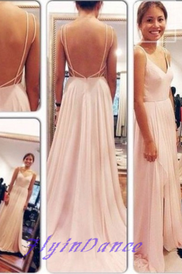 Backless Prom Dresses,Open Back Prom Dress,Cap Sleeves Prom Gown,Blush Pink Prom Gowns,Elegant Evening Dress,Spaghetti Straps Evening Gowns,Modest Evening Gowns,Sexy Prom Dress