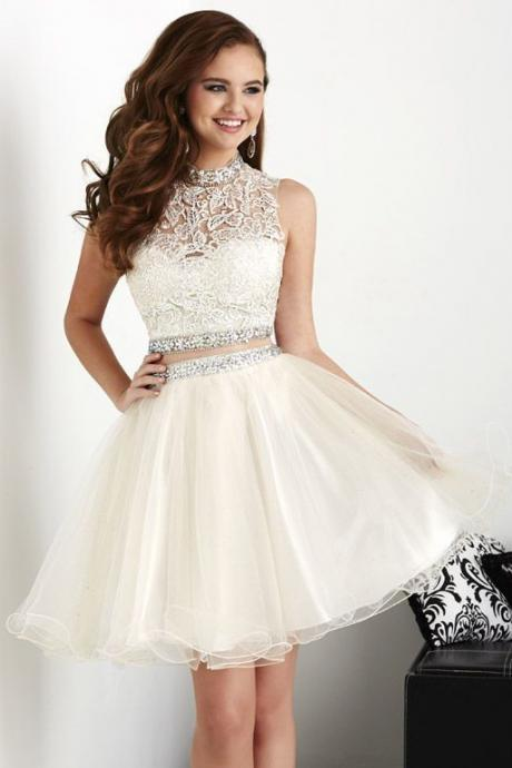 White Homecoming Dresses, Ball Gowns, Short Corset Prom Dress, Lace Prom dress, Two pieces, Cute Homecoming dresses