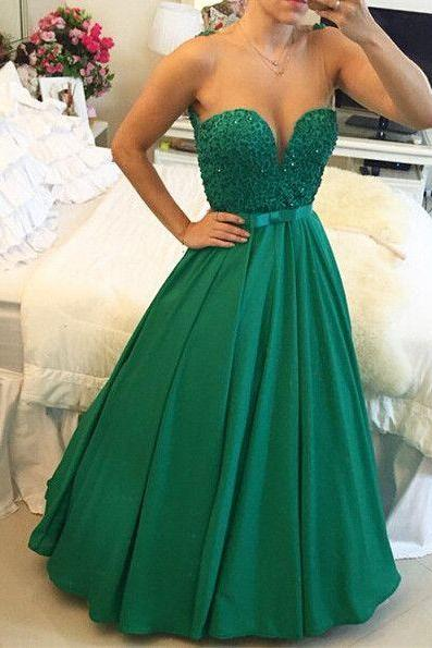 A-Line Sweetheart Crystal Evening Dress with Beadings Open Back Floor Length Prom Gowns,2016 Prom Dress On Sale