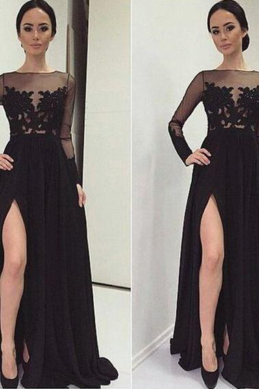 Black Prom Dresses,Lace Evening Dress,Sexy Prom Dress,Prom Dresses With Long Sleeves,Open Back Prom Dress,Sexy Black Evening Dress,A line Evening Gowns