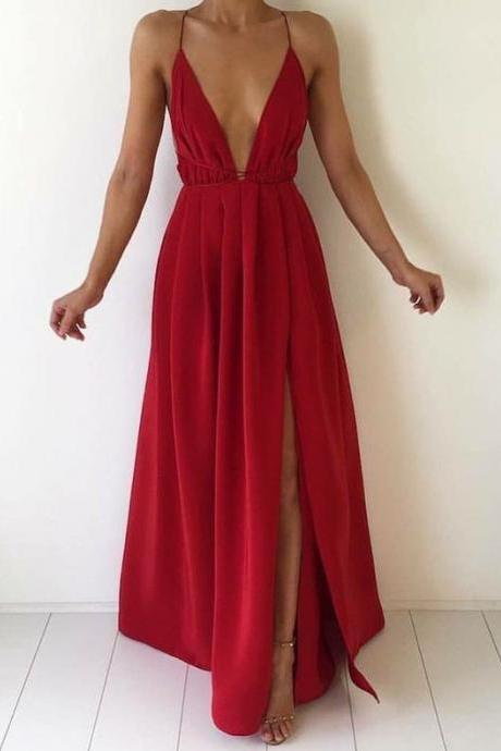 2016 New Fashion Women Party Dress,Sexy Prom Dress,Backless Prom Dress,Formal Dress, Red Prom Dress,Simple Prom Party Dress,Spaghetti Strap Party Dress,A line Evening Dress