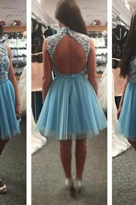 Charming Prom Dress,Blue Prom Dress,Backless Homecoming Dress,Tulle Prom Gown,Short Party Dress