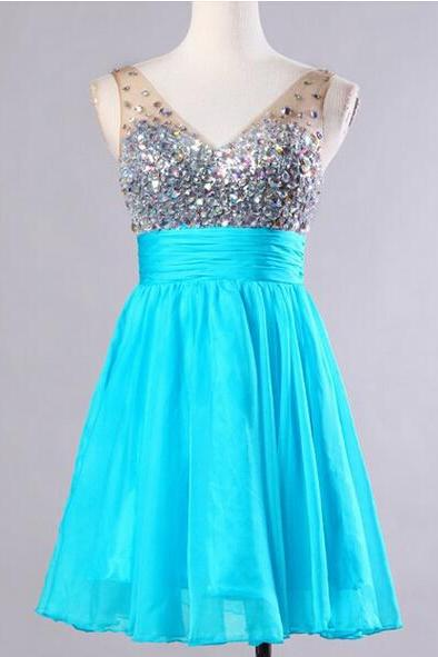 Crystal Embellished Plunge V Sleeveless Short Chiffon A-Line Homecoming Dress