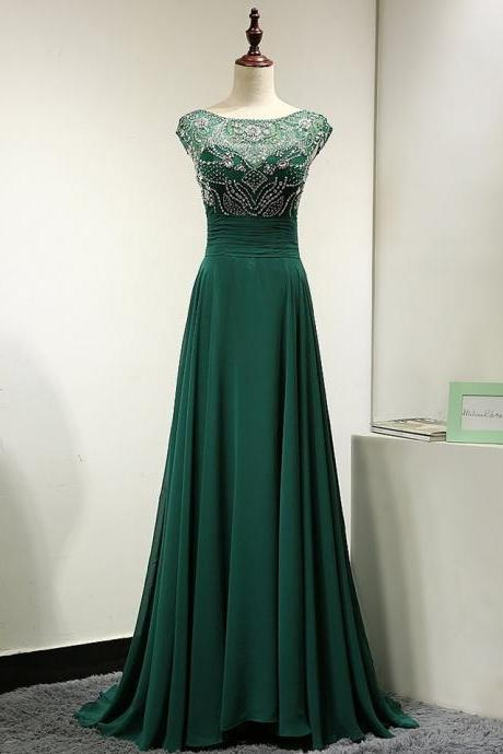Floor Length Chiffon A-Line Evening Dress featuring Beaded Embellished Bodice with Cap Sleeves and Bateau Neckline