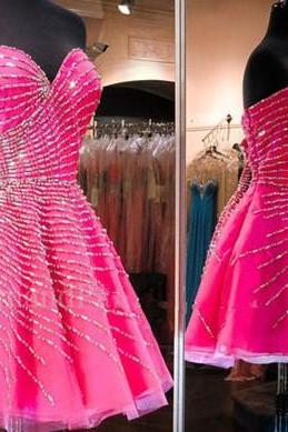 Charming Prom Dress,New Prom Dress, Pink Homecoming Dress, Pink Prom Gown,Short Party Dress