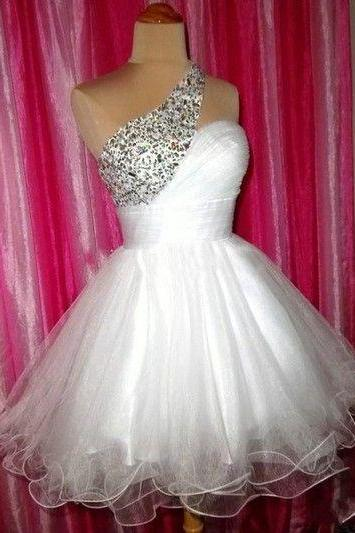 Sexy Homecoming Dress,Beading Short Homecoming Dress,Party Dress,Tulle Graduation Dress,One-Shoulder Short Prom Dress
