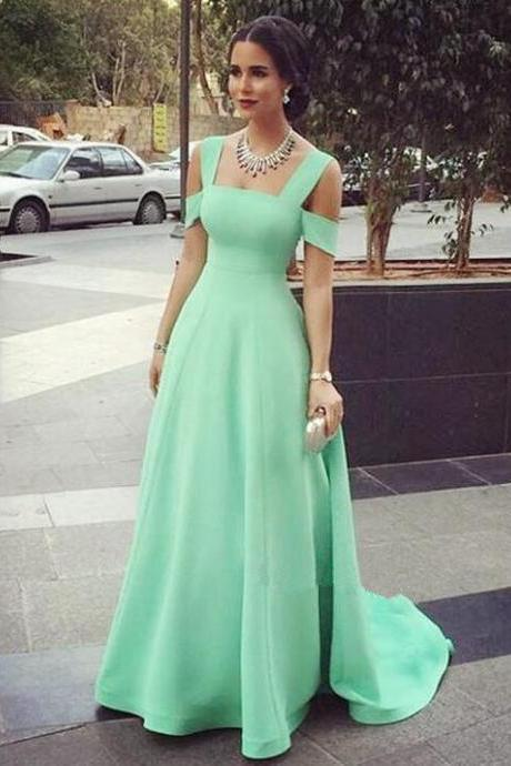 Charming Evening Dress,Mint Green Prom Dresses,Real Made Prom Gowns,Satin Prom Dress,Party Dress,A line Evening Gowns,Formal Dress 2016