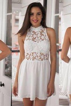 Short Prom Dress,Lovely Prom Dress,Lace Prom Gown,Open Back Prom Party Dress